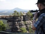 Filming near the Pravcicka gate in the Czech-Saxon Switzerland